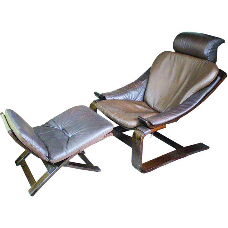Vintage armchair in leather Kroken with footstool by Ake Fribytter for Nelo Möbel
