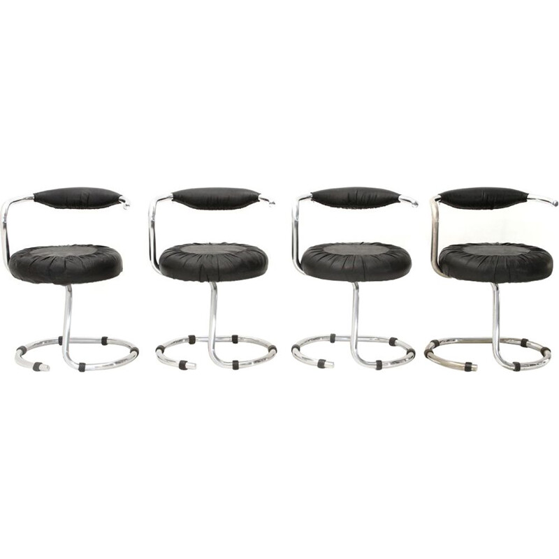 Set of 4 vintage metal chairs by Giotto Stoppino cushion