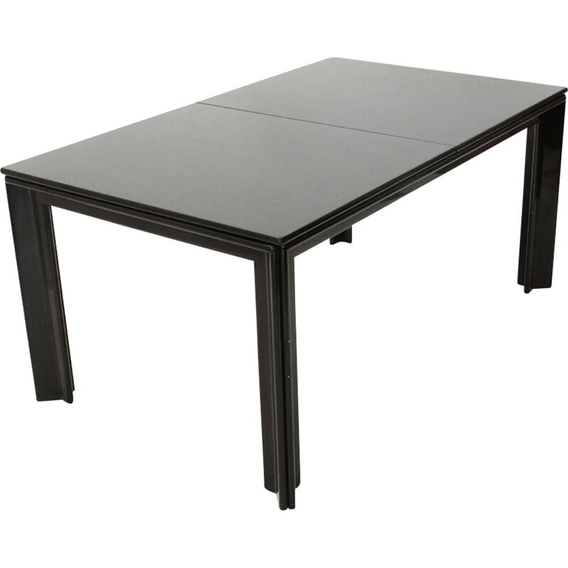 Vintage table in black lacquered black by Tobia Scarpa for Molteni