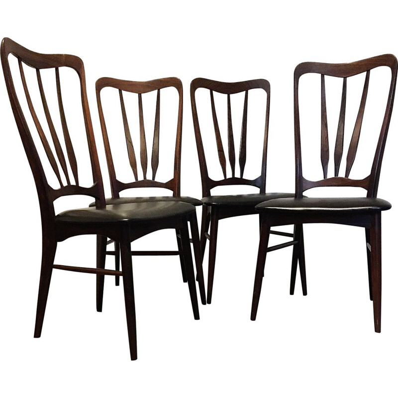 "Set of 4 vintage Scandinavian chairs ""Ingrid"" in rosewood by Niels Koefoed for Koefoeds Hornlest"
