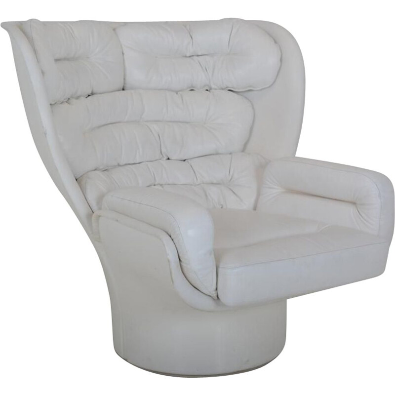 """Vintage armchair """"Elda"""" in white leather by Joe Colombo for Comfort Italy"""