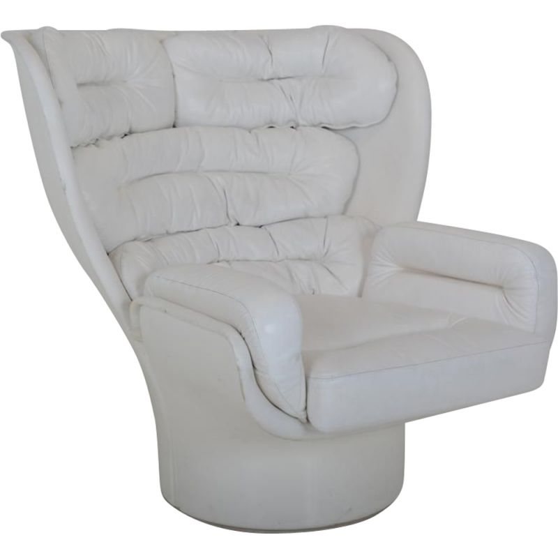 "Vintage armchair ""Elda"" in white leather by Joe Colombo for Comfort Italy"