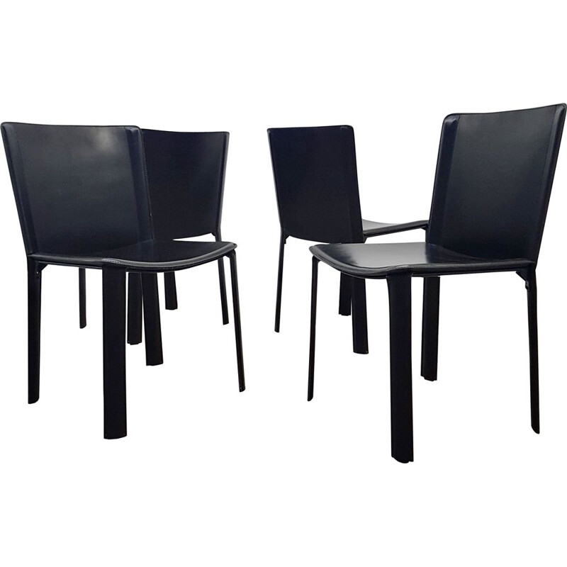 Set of 4 vintage dining chairs in leather by Willy Rizzo for Cidue