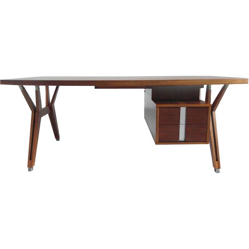 Vintage Italian executive desk in walnut by Ico Parisi for Mim Roma