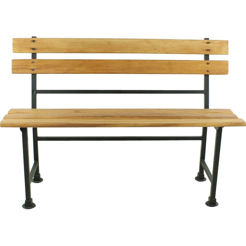 Vintage German bench in wood and metal