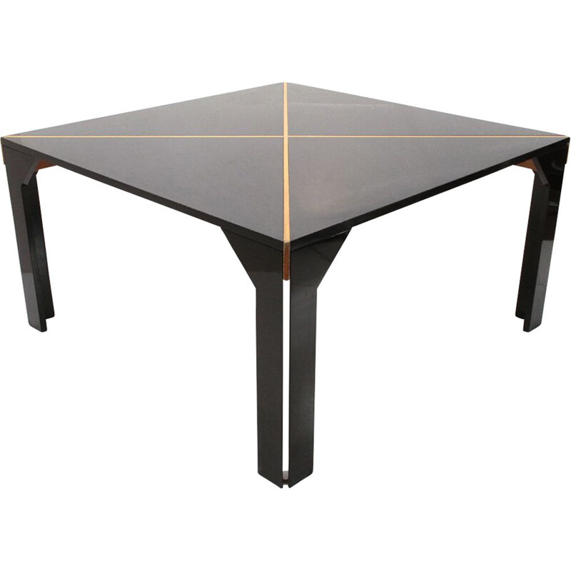 Vintage Tema black table by Vico Magistretti for B&B Italia 1970