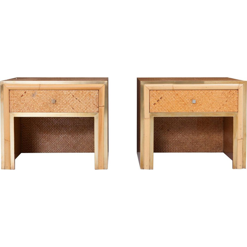 Pair of vintage night stands by Vivai del Sud in rattan and osier 1970s