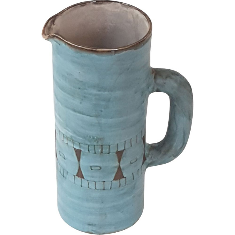 Vintage pitcher by Alain Maunier in blue ceramic 1950