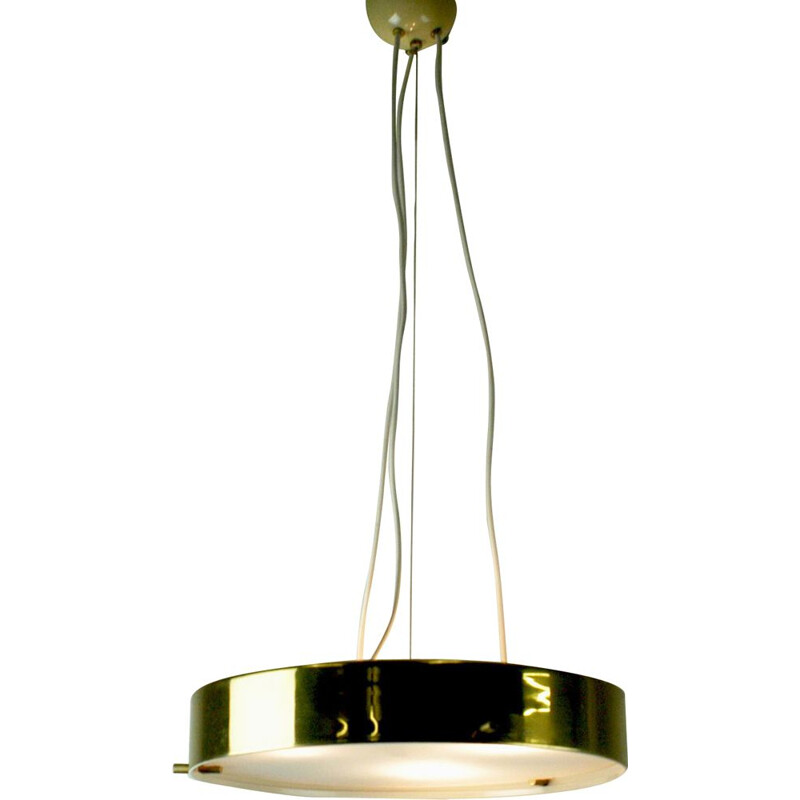 Vintage italian brass and glass chandelier for Silnovo 1950
