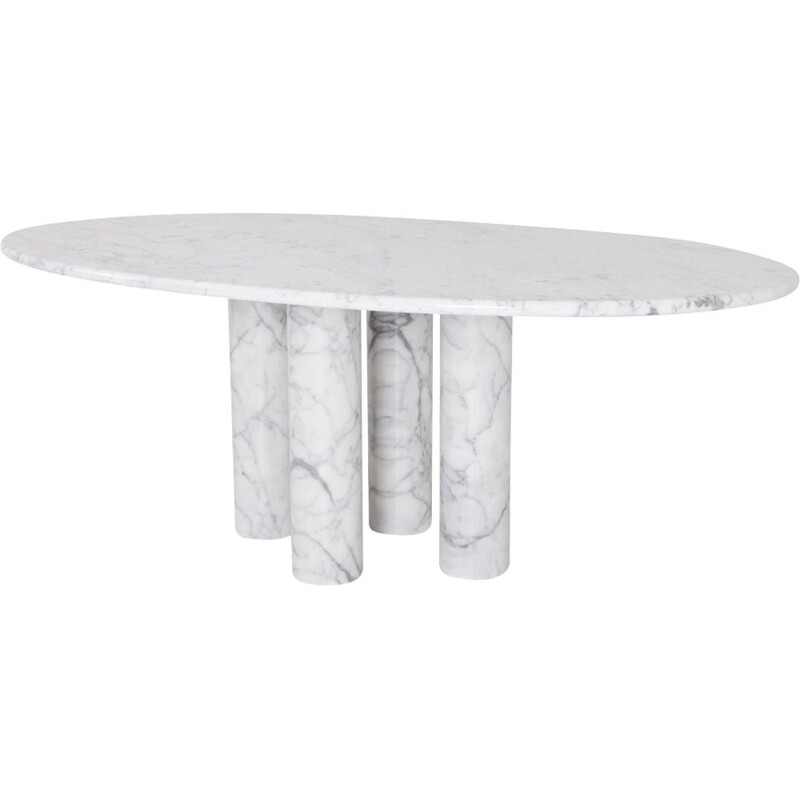 White oval dining table in marble 1970s
