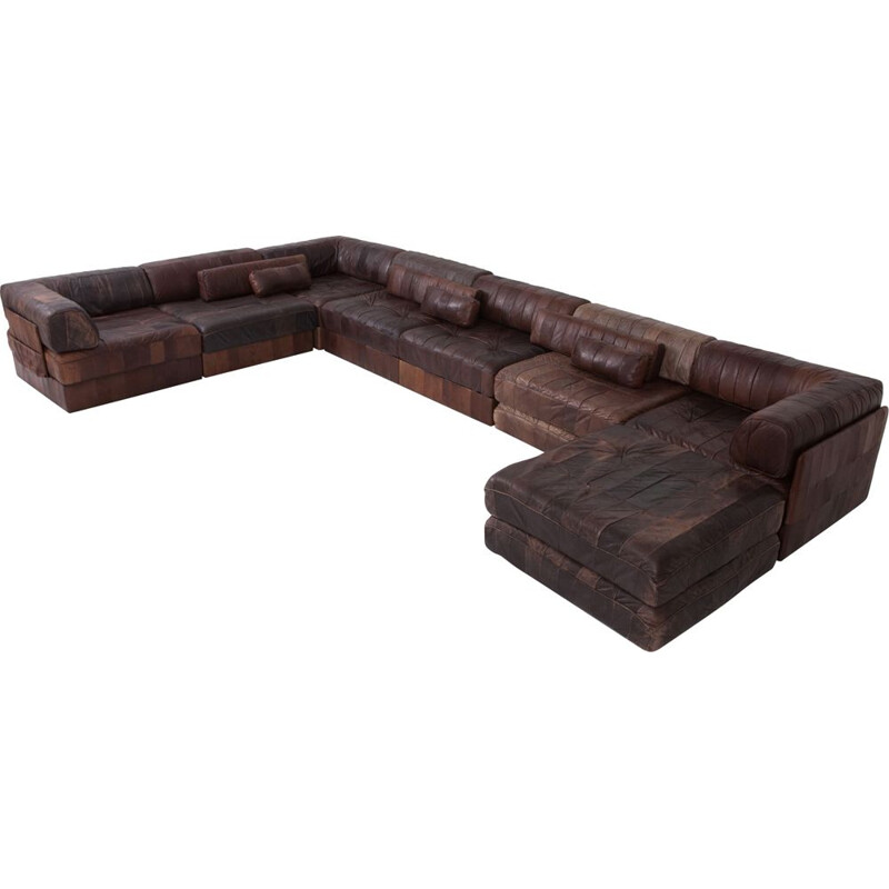 Vintage modular brown-cognac leather patchwork DS88 sofa