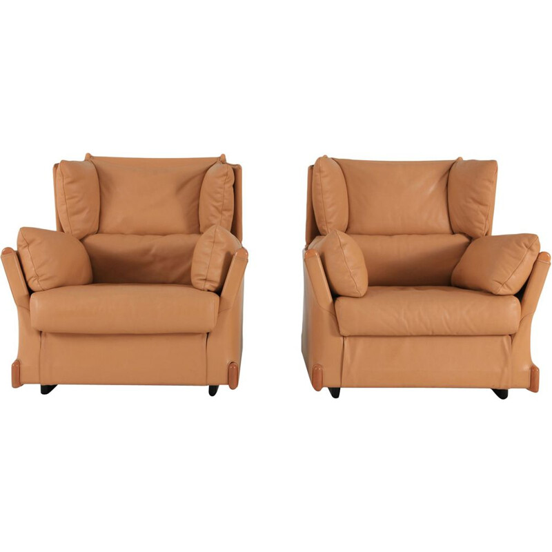 Pair of brown armchairs by Piero de Martini for Cassina