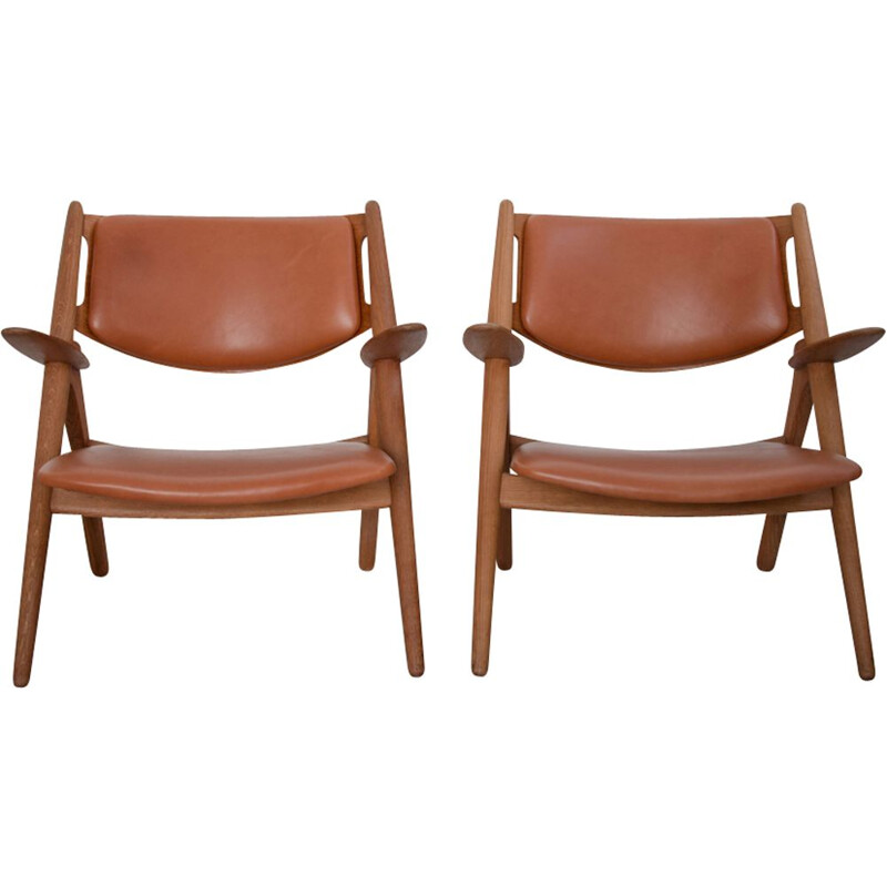 Set of 2 vintage CH-28 armchairs by Hans J. Wegner for Carl Hansen & Søn