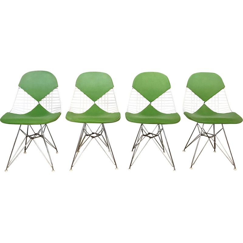 Set of 4 green DKR chairs by Eames for Herman Miller