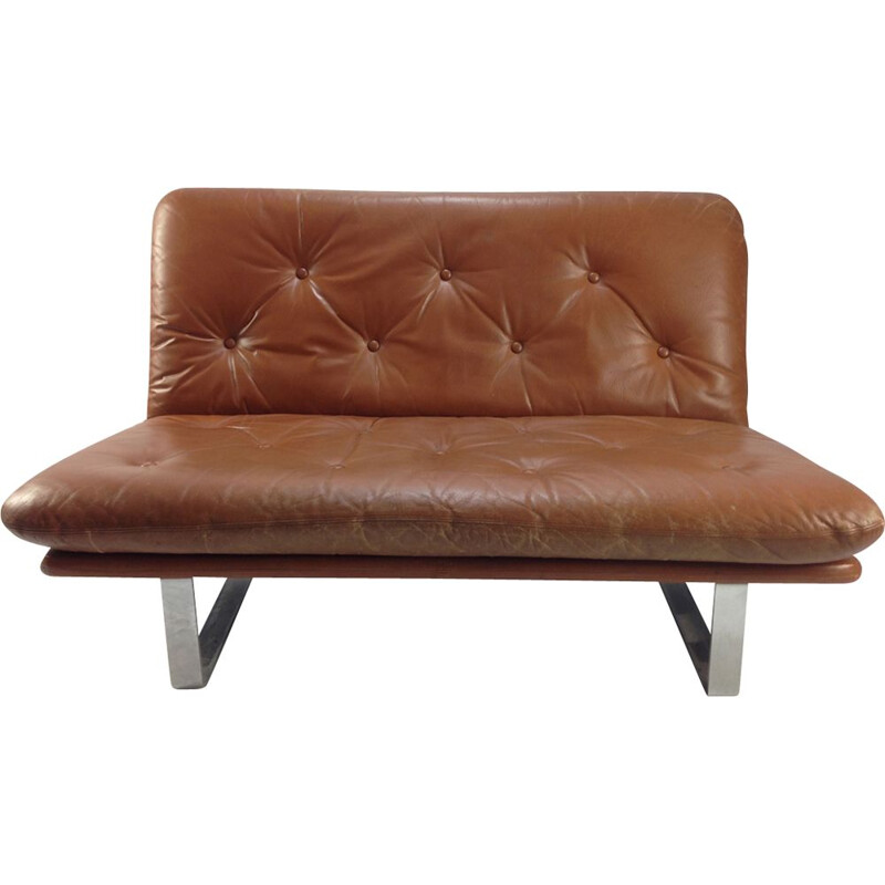Vintage brown leather sofa by Kho Liang Le for Artifort