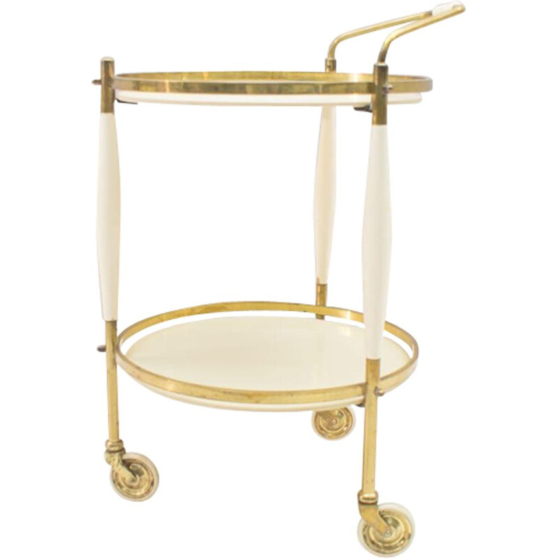 Vintage golden trolley in brass and glass
