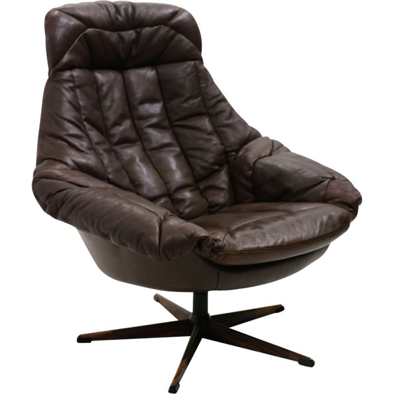 Vintage Danish armchair in leather by H. W. Klein for Bramin