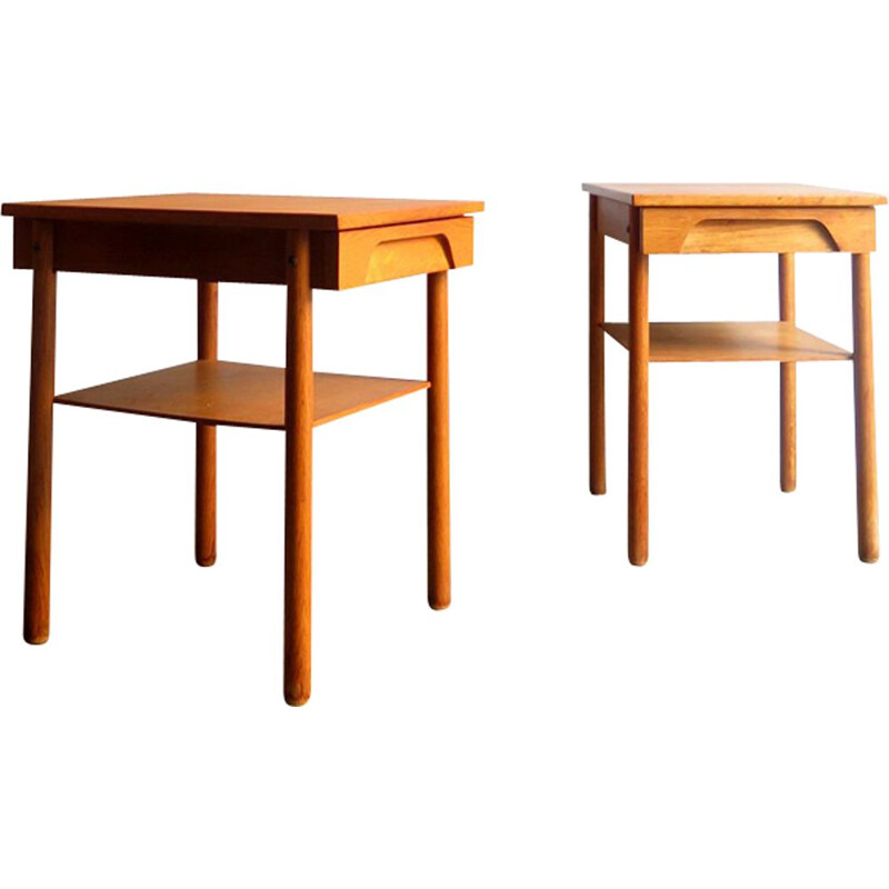 Pair of danish oak bedside tables with drawer 1950