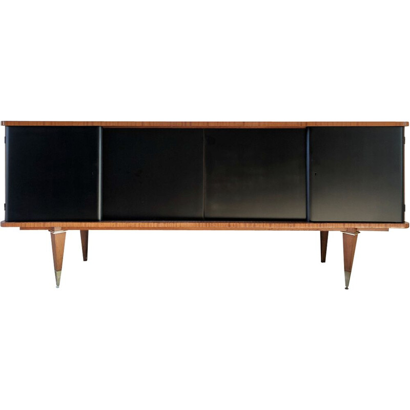French vintage 4 doors sideboard in mahogany