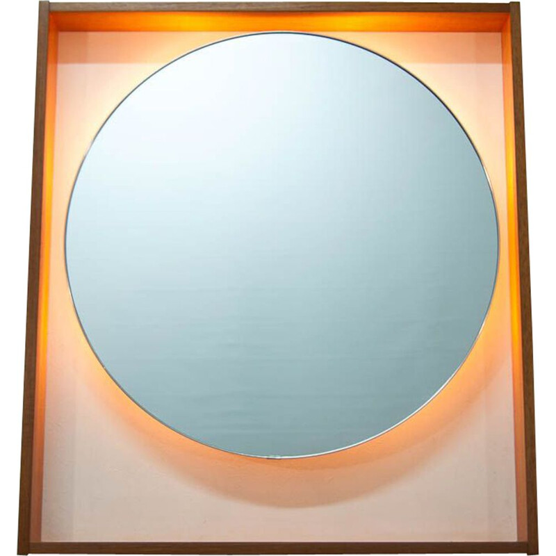 Large vintage scandinavian mirror in teak 1960