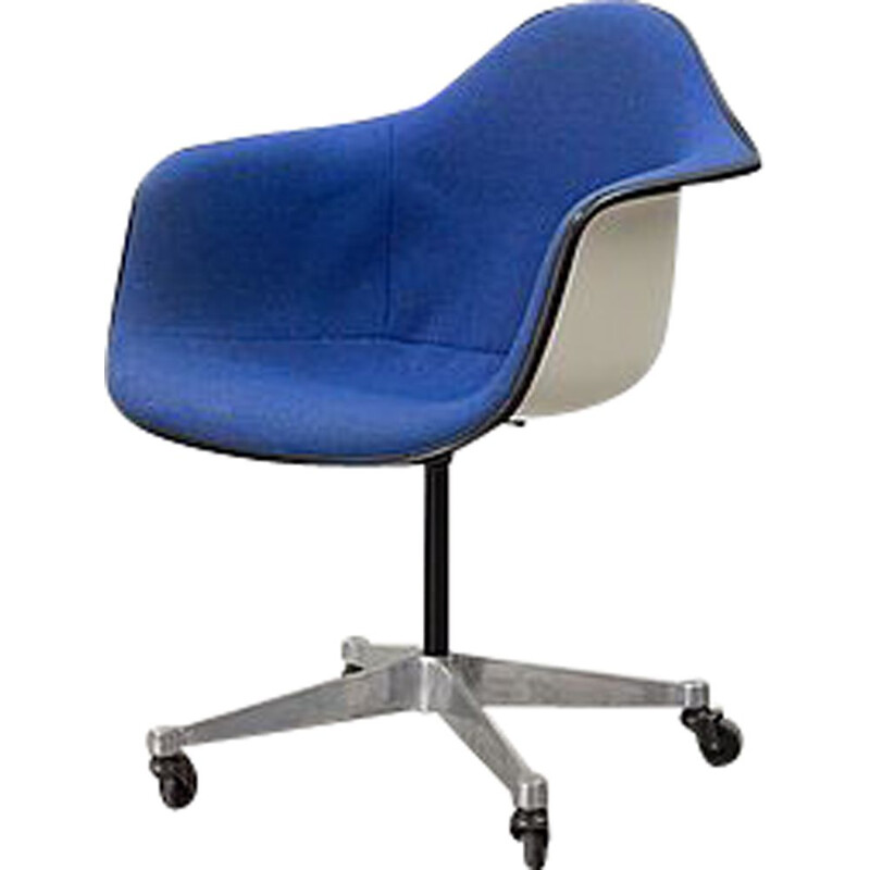 Vintage DAR armchair by Charles and Ray Eames in blue fabric