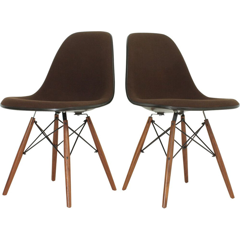 Pair of vintage brown DSW Chairs for Herman Miller in fiberglass and fabric