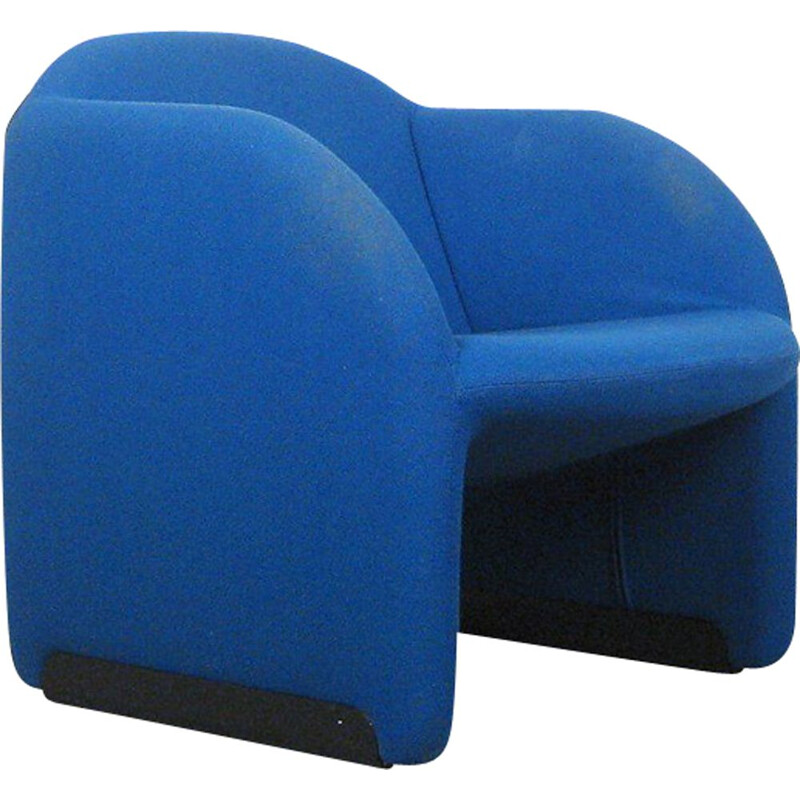 Vintage Ben armchair by Pierre Paulin for Artifort in blue fabric
