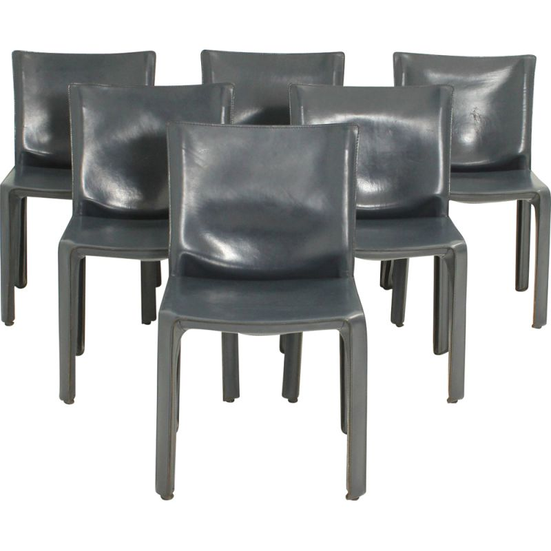 Set of 6 vintage Cab Chairs by Mario Bellini in blue leather and steel