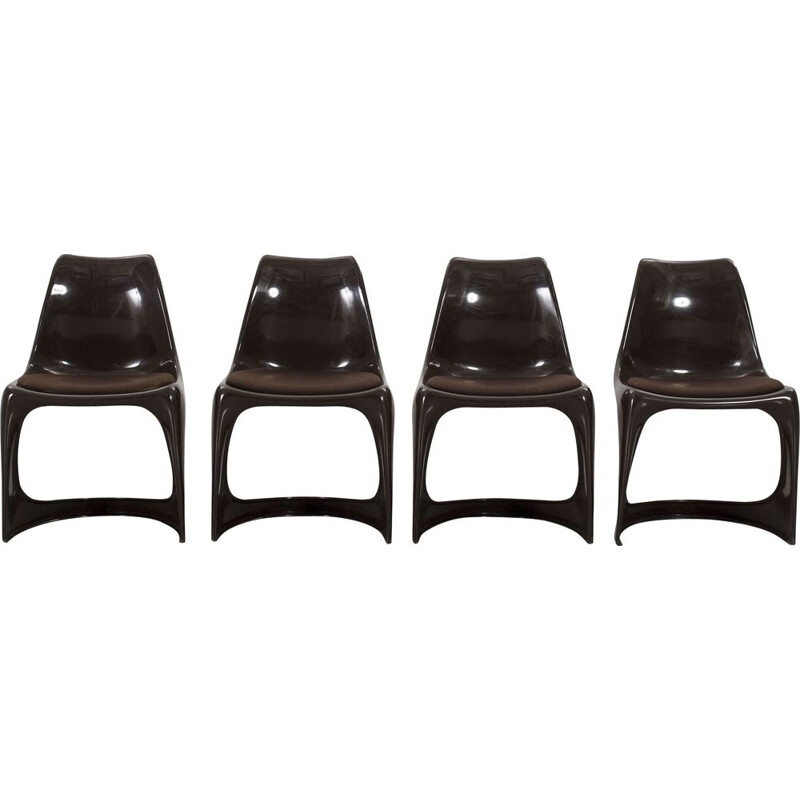 Set of 4 vintage black plastic chairs for Cado