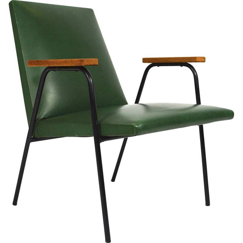 Vintage green armchair by Pierre Guariche