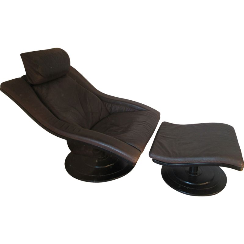 Vintage brown leather swiveling armchair for Nelo