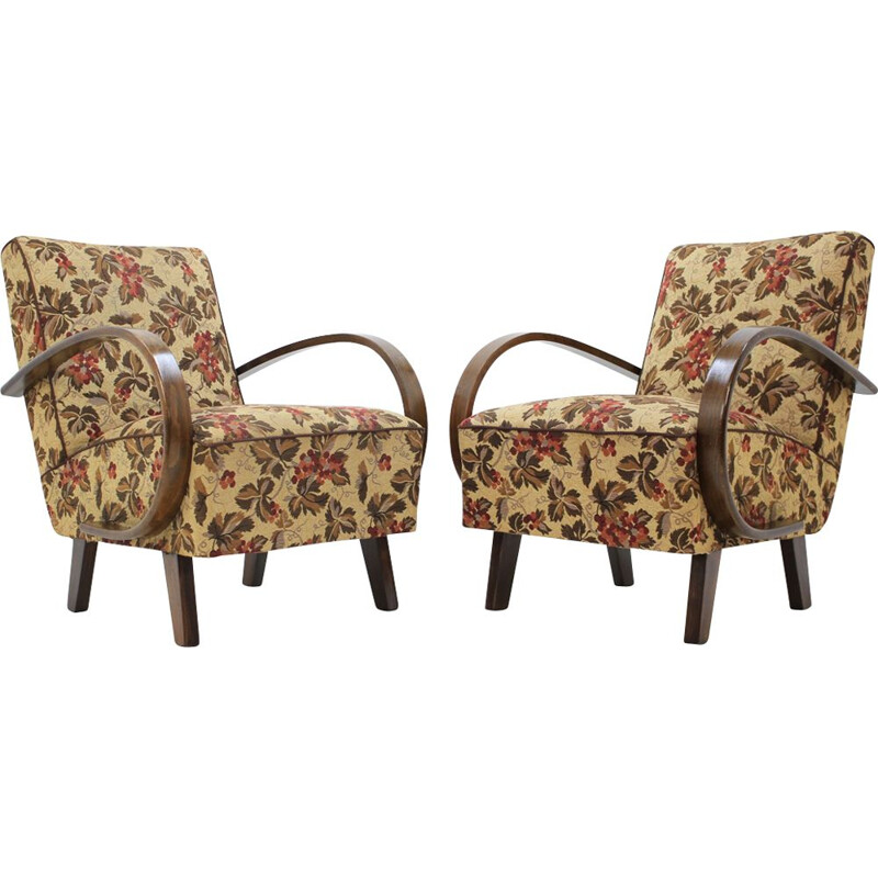 Set of 2 armchairs in fabric by Jindřich Halabala
