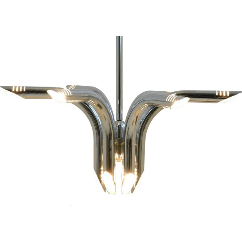 Vintage chandelier in metal by Goffredo Reggiani