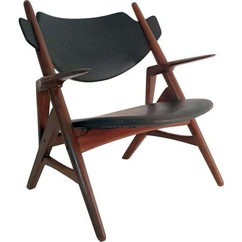 Vintage teak and leatherette chair by Hans Wegner