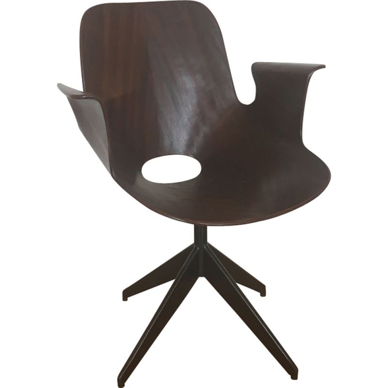 Vintage Medea chair by Vittorio Nobili for Fratelli Tagliabue in metal and mahogany