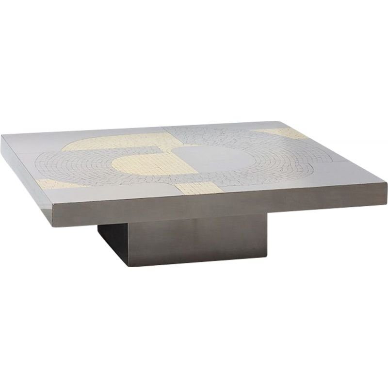 Vintage steel and brass table by Jean Claude Dresse