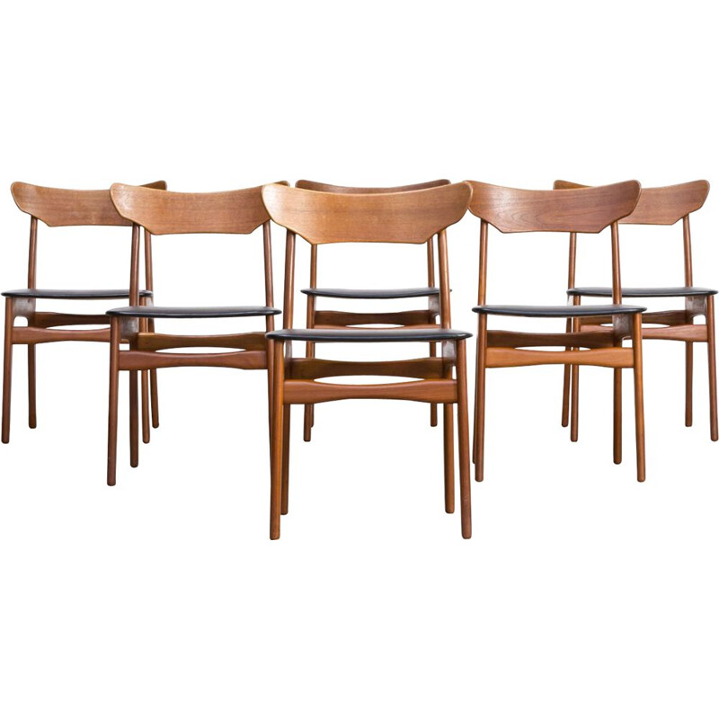 Set of 6 vintage teak dining chairs for Randers 1960