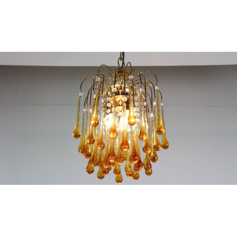 Classic Murano Chandeliers For Luxury Hotel In Florence: Vintage Chandelier In Murano Amber Glass By Paolo Vanini