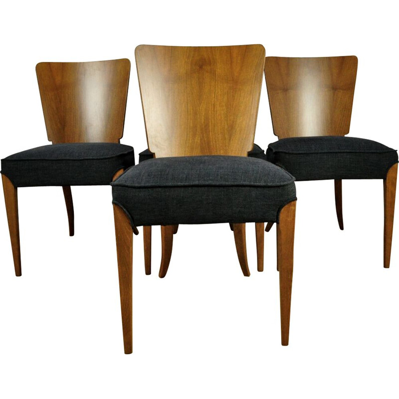 Set of 4 vintage chairs for Up Zavody in wood and black fabric