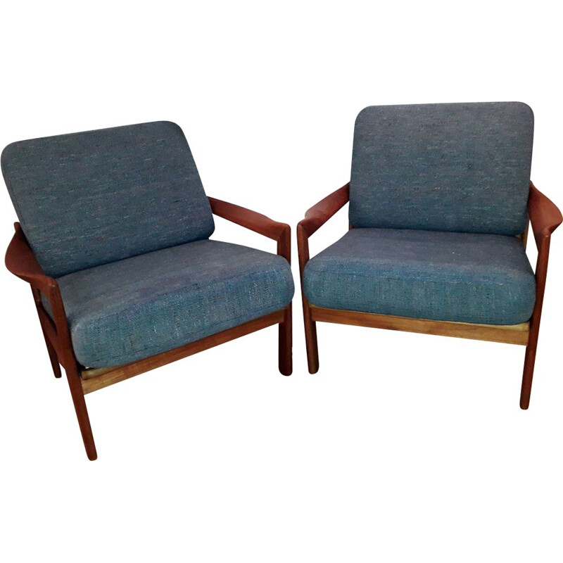 Pair of vintage scandinavian armchairs for Eilersen in teak