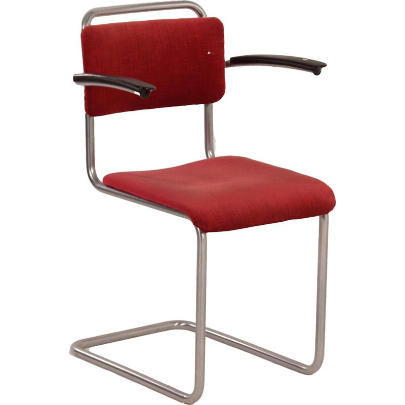 Vintage red chair 201 with Bakelite armrests by Gispen