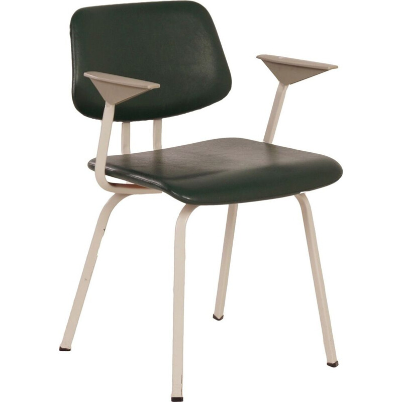 Vintage green industrial chair with armrest for Ahrend de Cirkel