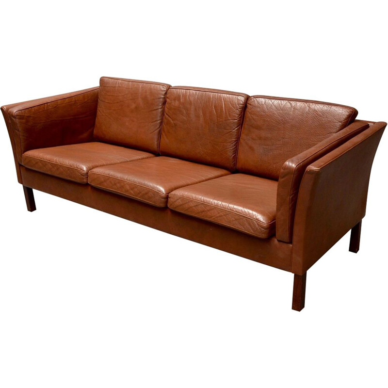 Vintage 3 seater sofa Scandinavian design in brown leather