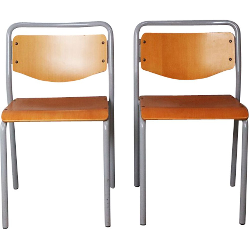 Set of 4 vintage Danish industrial stacking chairs