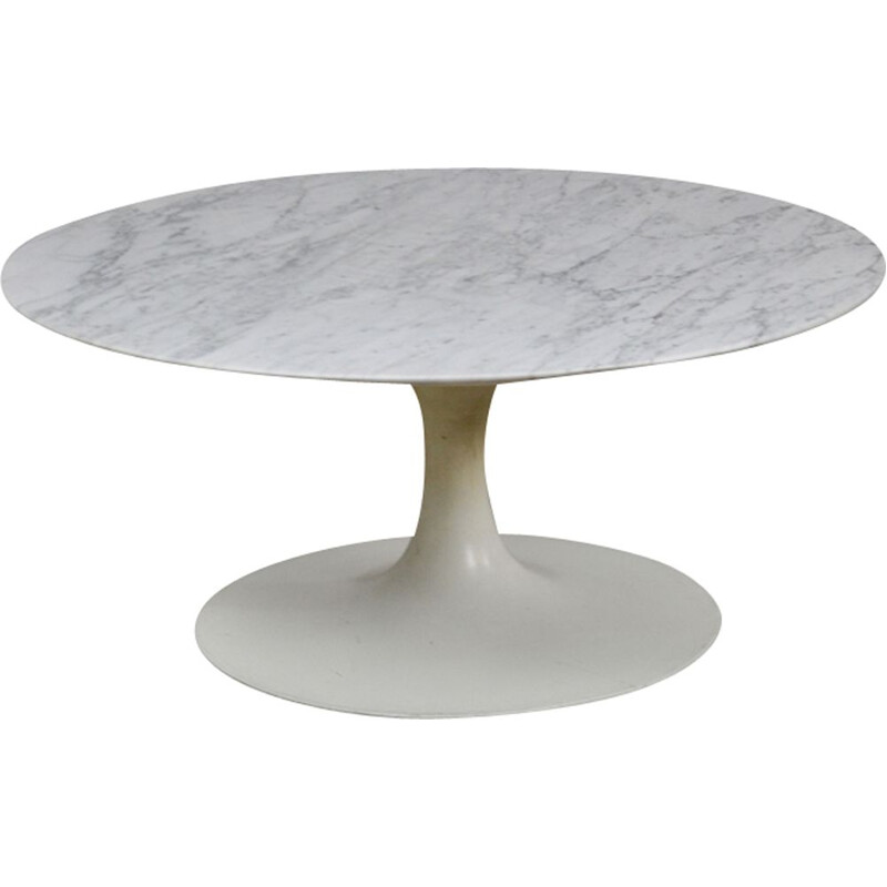 Vintage coffee table in Carrara marble, Maurice Burke for Arkana