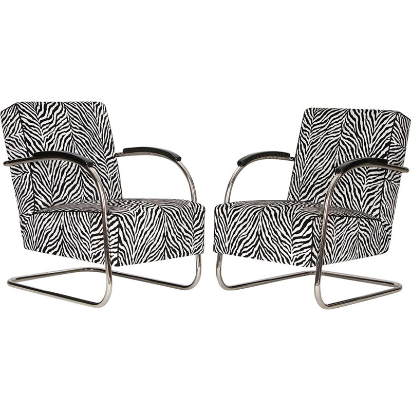 Set of 2 vintage Czech armchairs in tubular steel by Mücke-Melder