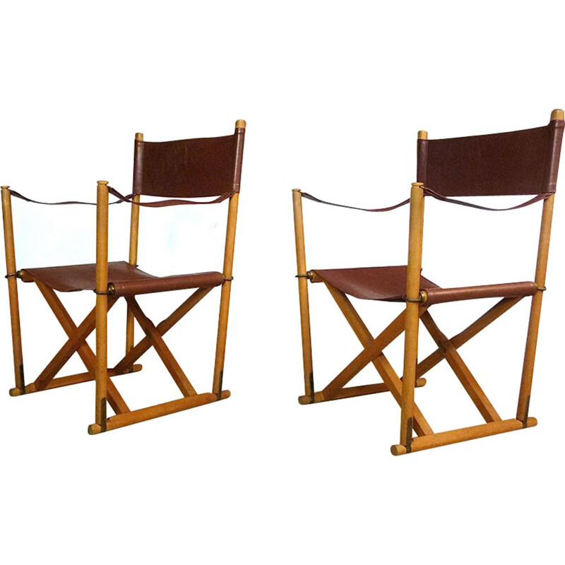Set of 2 vintage folding chairs in cognac leather by Mogens Koch for Cado