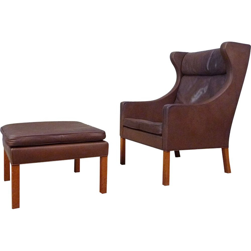 Vintage Danish armchair with ottoman in leather by Børge Mogensen  for Fredericia