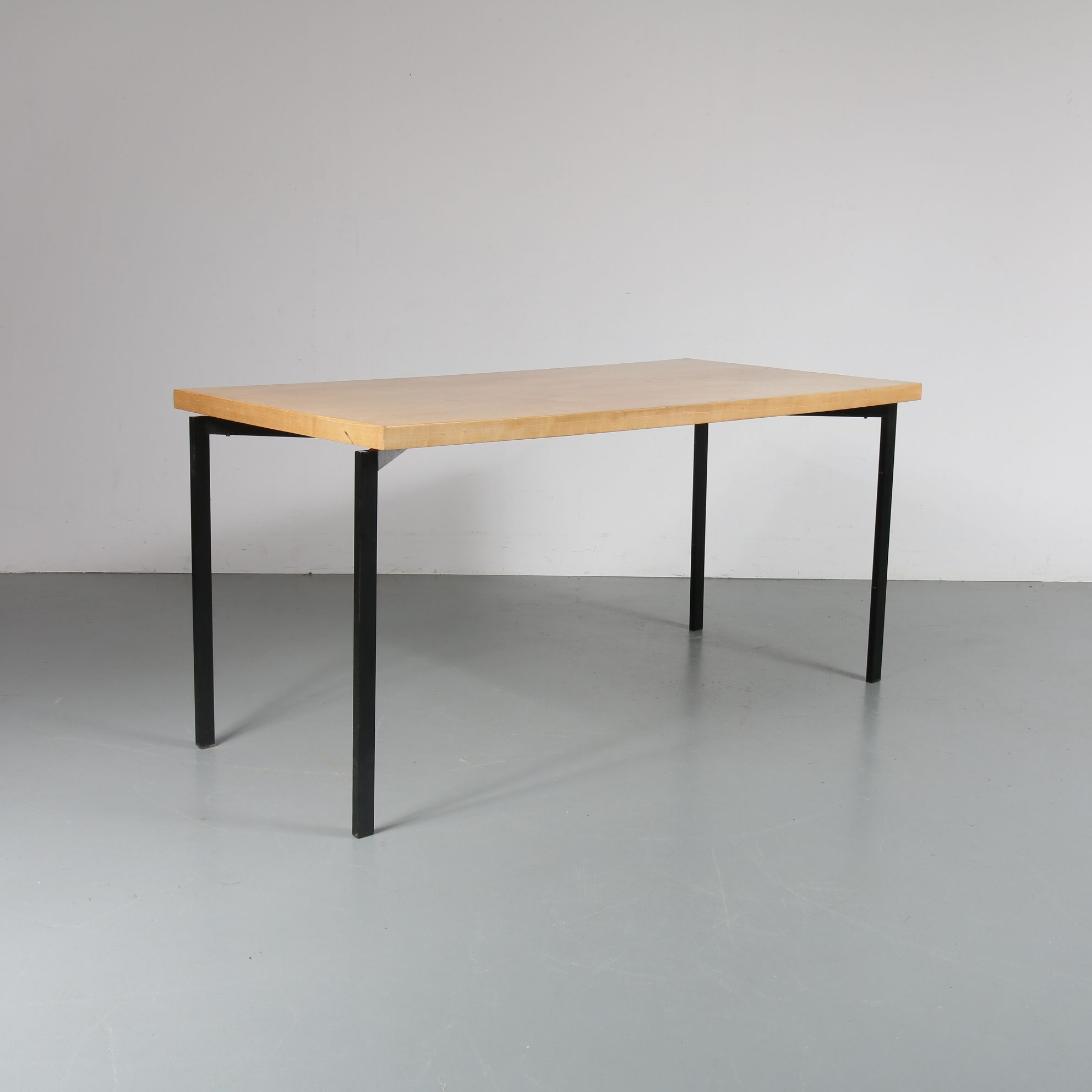 Vintage Dutch Dining Table In Birch Wood