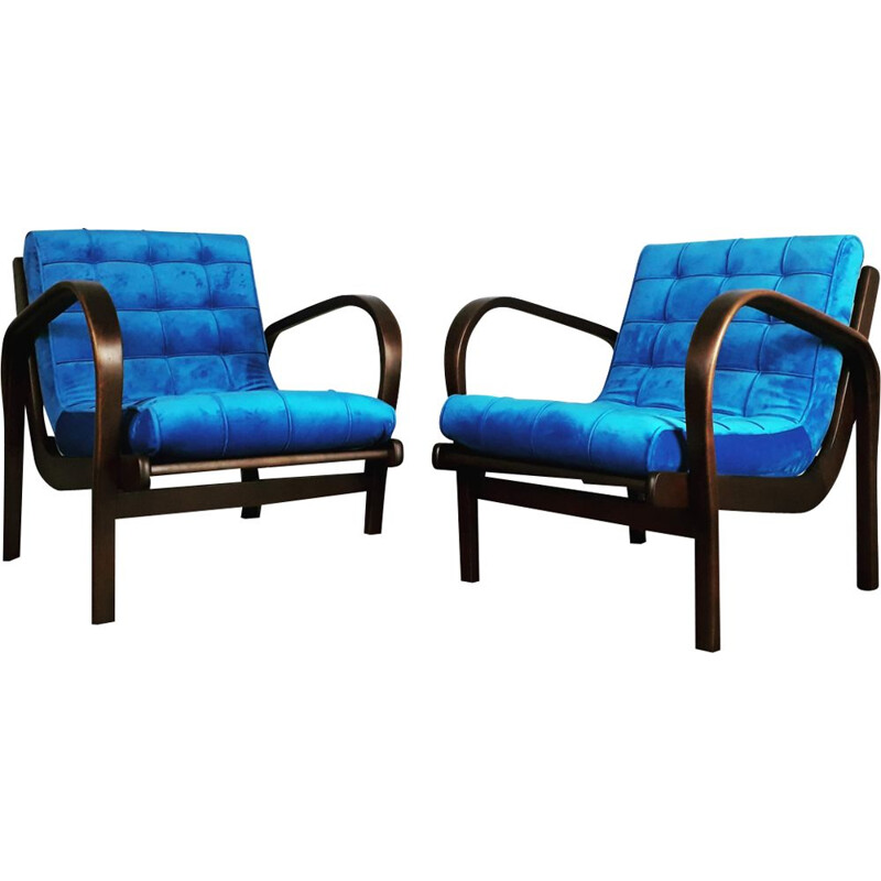 Set of 2 vintage armchairs by Kropacek and Kozelka